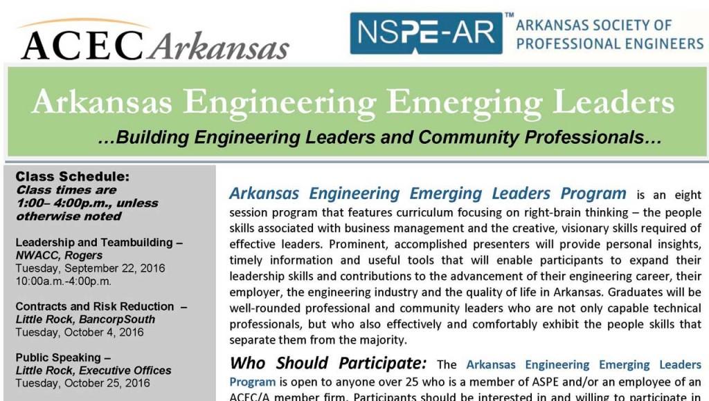 2016-2017 Arkansas Engineering Emerging Leaders Program! Deadline is September 16, 2016!
